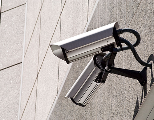 Visible Security Camera on a Building