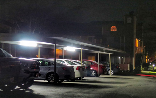 lighting for securing a parking lot